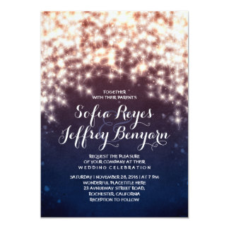 String lights glitter navy wedding invitations