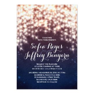 String lights glitter shining wedding invitations