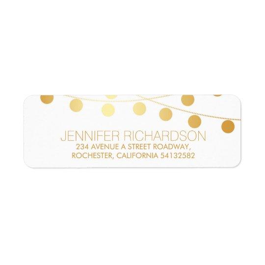String Lights Gold Foil Wedding Return Return Address Label