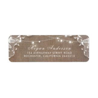 String Lights Lace and Burlap Rustic Elegant Return Address Label