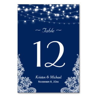 String Lights Lace Navy Blue Wedding Table Number Table Cards