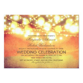 string lights lanterns glowing wedding invite