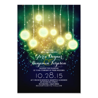 string lights & lanterns outdoor wedding invites