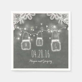 String Lights Mason Jar and Lace Rustic Wedding Paper Napkins