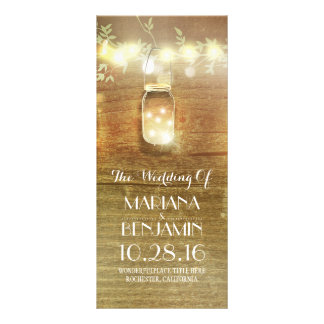 string lights mason jar rustic wedding programs rack card