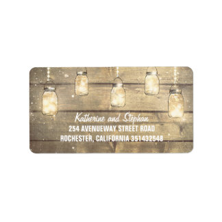 String Lights Mason Jars Rustic Address Label