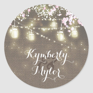 String Lights Mason Jars Rustic Baby's Breath Classic Round Sticker