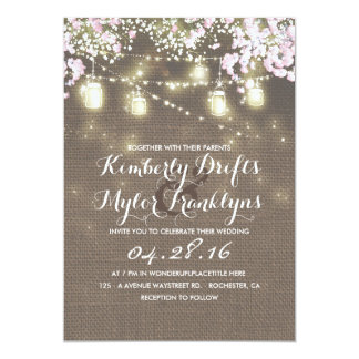String Lights Mason Jars Rustic Burlap Wedding Card