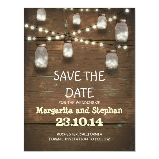 string lights & mason jars save the date
