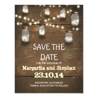 string lights & mason jars save the date cards 11 cm x 14 cm invitation card