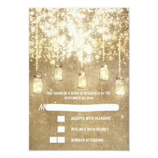 String lights mason jars wedding RSVP cards