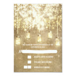 String lights mason jars wedding RSVP cards Personalized Invites