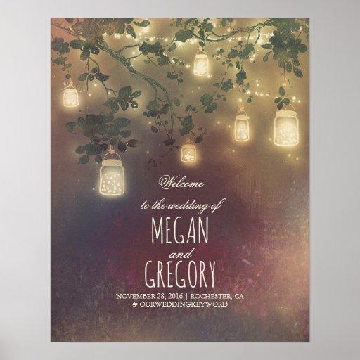 String Lights Mason Jars Wedding Welcome Sign