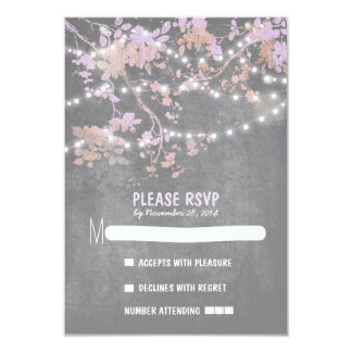 String lights modern rustic wedding RSVP cards