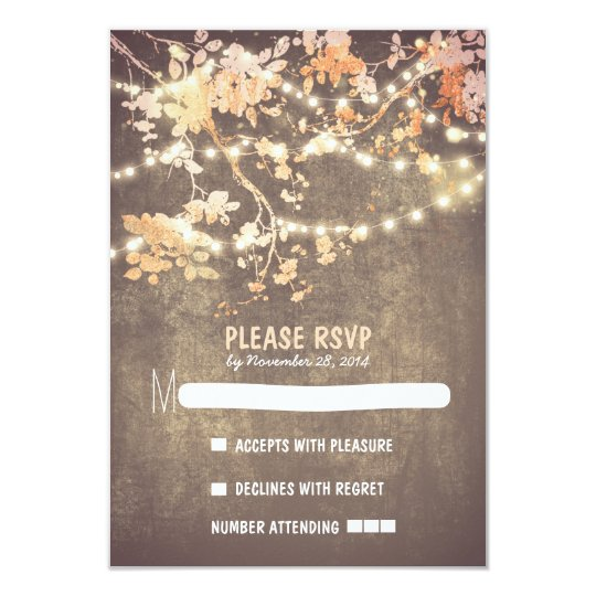 String lights modern rustic wedding RSVP cards