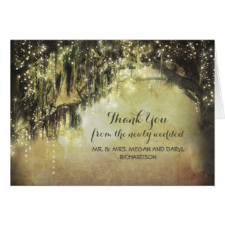 String Lights Moss Trees Branches Thank You Card