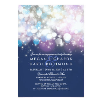 String Lights Navy Engagement Party Card