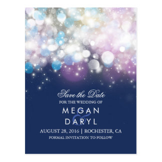 string lights navy rustic save the date postcard