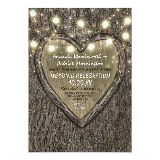 String Lights + Oak Tree Bark Wedding Invitations