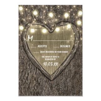 String Lights + Oak Tree Bark Wedding RSVP Cards