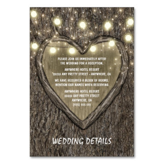 String Lights + Oak Tree Wedding Reception Cards