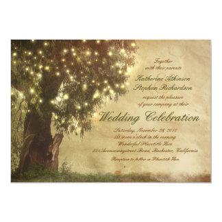 "String lights old tree rustic wedding invitation 5"" x 7"" invitation card"