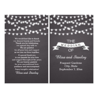 String lights on chalkboard folded wedding program flyer