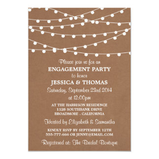 String Lights On Rustic Kraft Engagement Party Card