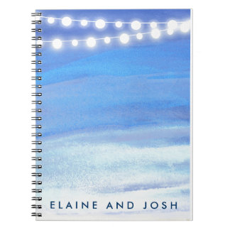String lights on the water notebooks