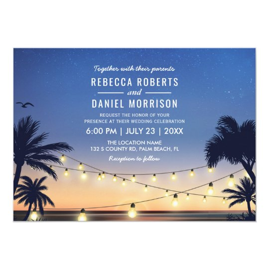 String Lights Palm Beach Destination Wedding Card