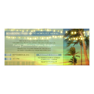 String Lights Palms Wedding Boarding Pass Tickets 10 Cm X 24 Cm Invitation Card