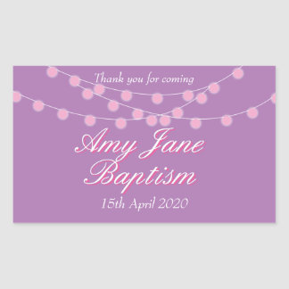 String Lights Pink Baptism Christening Favor Rectangular Sticker