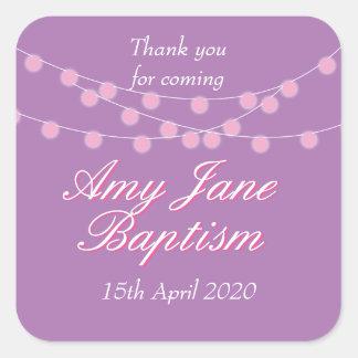 String Lights Pink Baptism Christening Favor Square Sticker