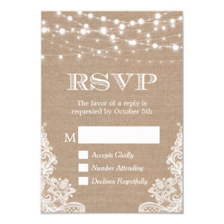 String Lights Rustic Country Burlap Lace RSVP 9 Cm X 13 Cm Invitation Card
