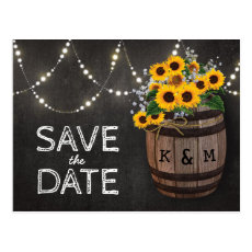 String Lights Rustic Sunflower Save the Date