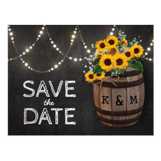 String Lights Rustic Sunflower Save the Date Postcard