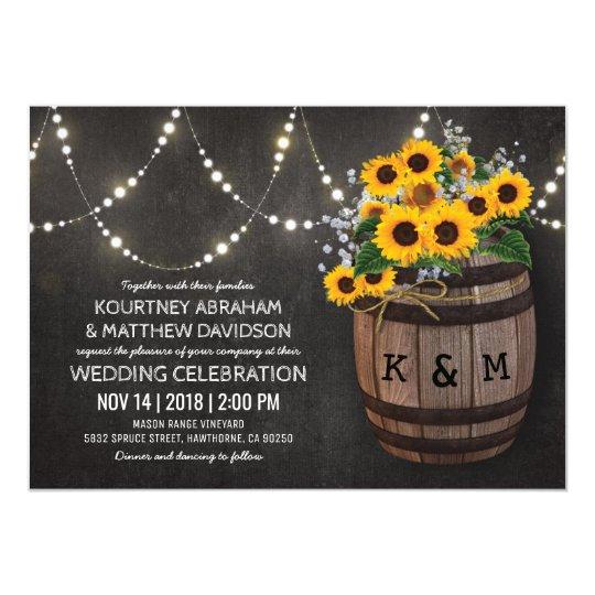 String Lights Rustic Vineyard Sunflower Wedding Card