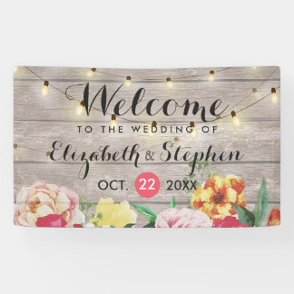 String Lights Rustic Wood Floral Wedding Banner