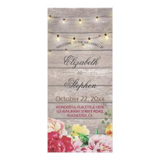 String Lights Rustic Wood Floral Wedding Program Rack Card