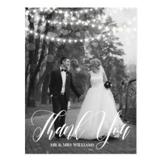 String Lights Script Wedding Photo Thank You Postcard