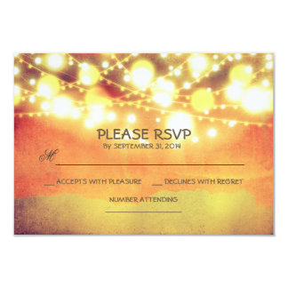 string lights shimmer rustic wedding RSVP Card