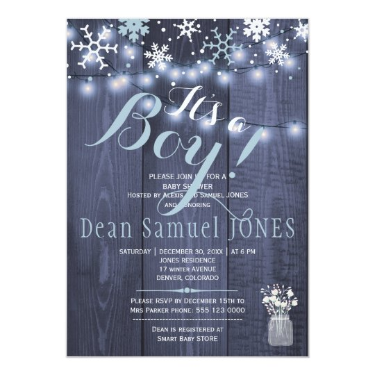 String lights snowflakes barn wood boy baby shower card
