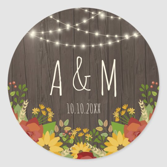 String Lights & Sunflowers Rustic Wedding Initials Classic Round Sticker
