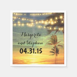 String Lights Sunset Beach Wedding Disposable Serviette