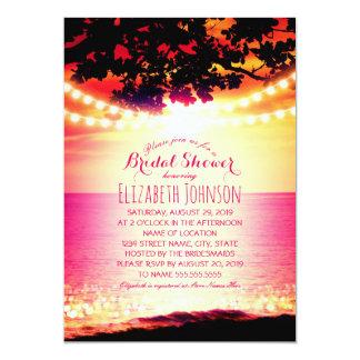 String lights Sunset Tropical Beach Bridal Shower Card