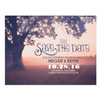 String lights tree enchanted save the date postcard