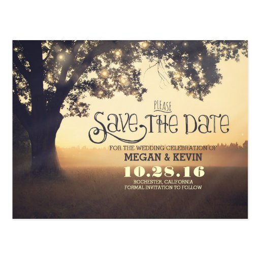 String lights tree romantic save the date postcard Zazzle