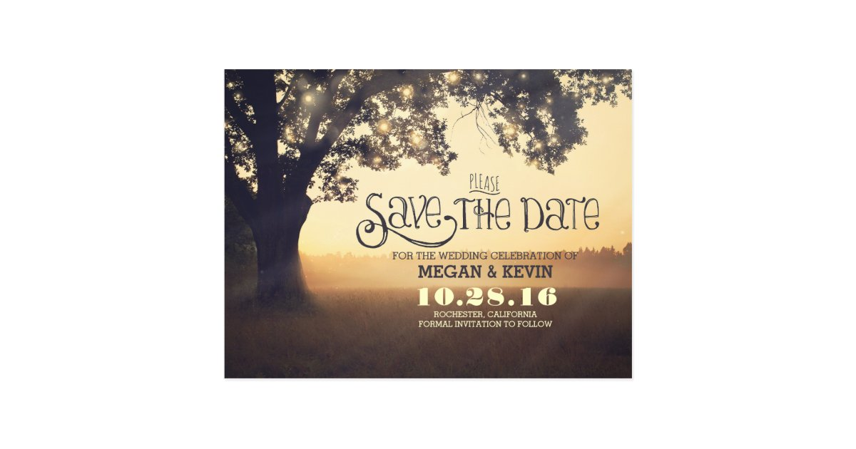 string lights tree save the date postcard zazzle