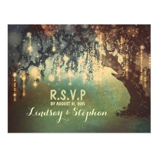 string lights tree RSVP postcards