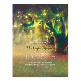 string lights tree rustic country save the date postcard